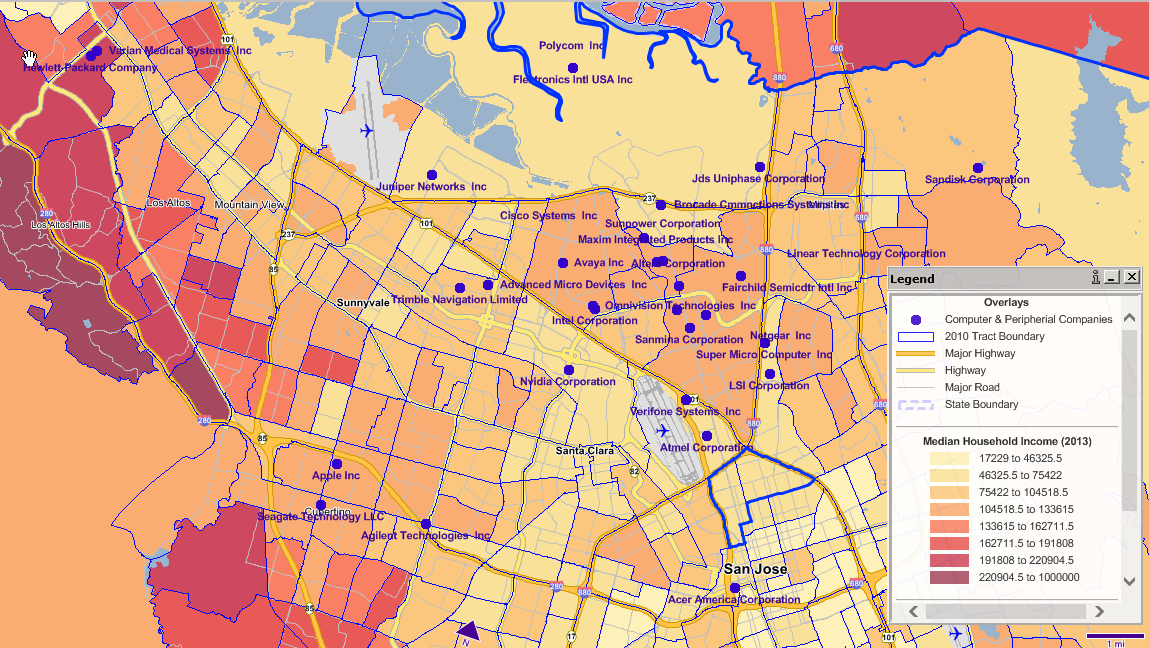 2013 Median HH Income by Census Tract -- Top Computer & Electronic Product Manufacturers (NAICS 3341)w/Sales $1MM+Source: GeoMetrix.com