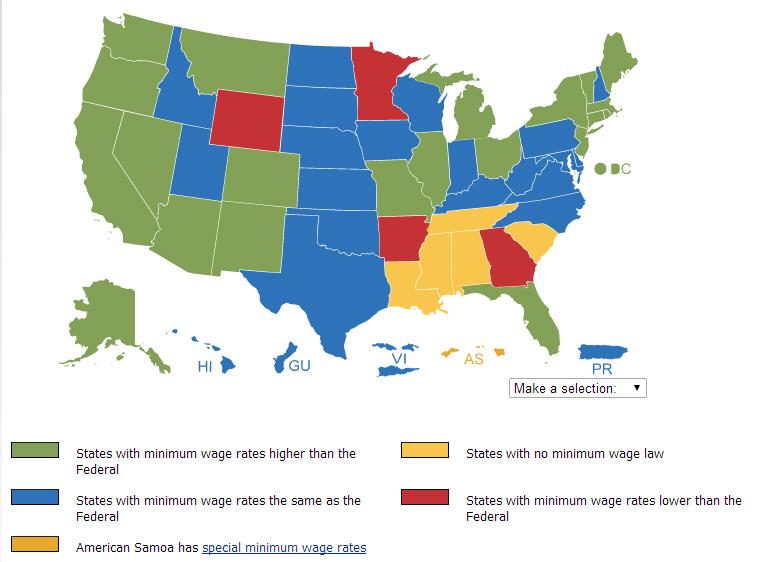 Minimum Wage Map 2014