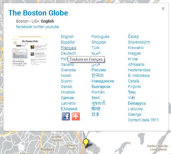 Newspaper Map Boston Globe