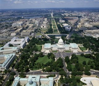 An aerial view of Washington, D.C., focusing on the United States Capitol.