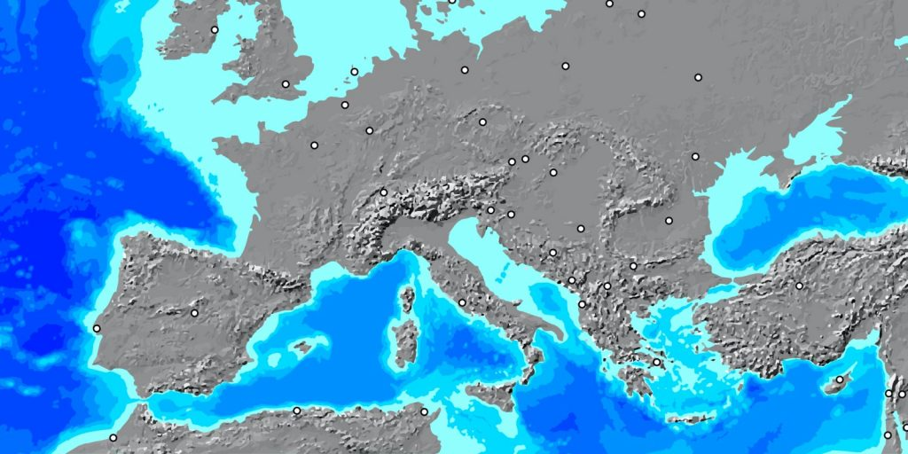 GIS mapping software displaying data from Europe