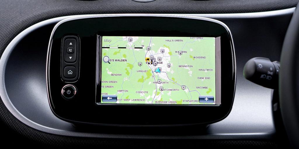 digital gps displays the sales routes