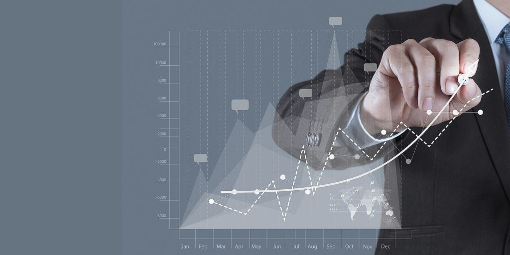 Business mapping software concept. Businessman draws business success chart on virtual screen